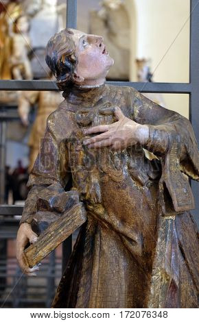 ZAGREB, CROATIA - FEBRUARY 15: Saint Francis Xavier, altar of St. Stephen and St. Donatus, exhibited at the Museum of the City of Zagreb, on February 15, 2015.