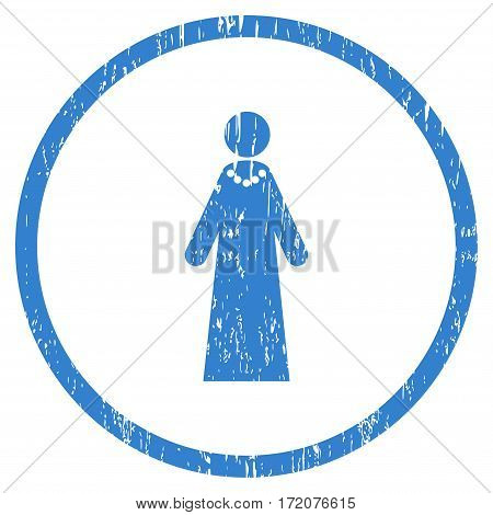 Bride grainy textured icon for overlay watermark stamps. Rounded flat vector symbol with dust texture. Circled cobalt ink rubber seal stamp with grunge design on a white background.