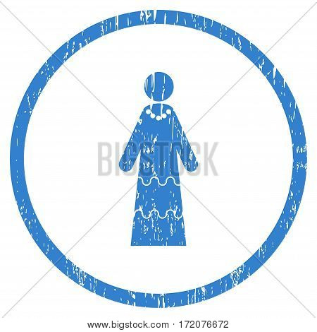 Bride grainy textured icon for overlay watermark stamps. Rounded flat vector symbol with dirty texture. Circled cobalt ink rubber seal stamp with grunge design on a white background.