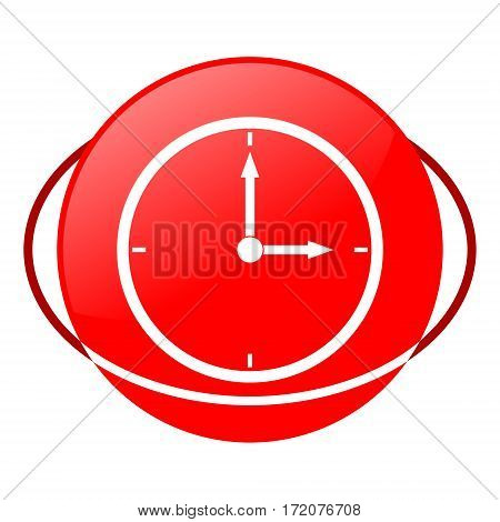 Red icon, clock vector illustration on white background