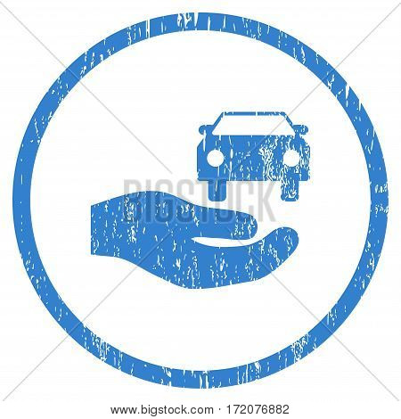 Car Gift Hand grainy textured icon for overlay watermark stamps. Rounded flat vector symbol with scratched texture. Circled cobalt ink rubber seal stamp with grunge design on a white background.