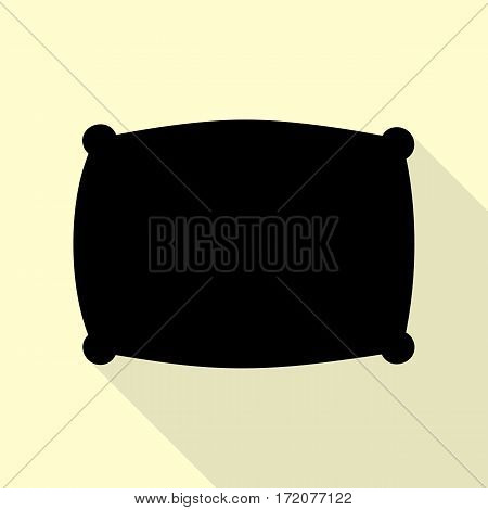 Pillow sign illustration. Black icon with flat style shadow path on cream background.