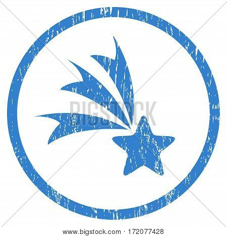Falling Star grainy textured icon for overlay watermark stamps. Rounded flat vector symbol with dirty texture. Circled cobalt ink rubber seal stamp with grunge design on a white background.