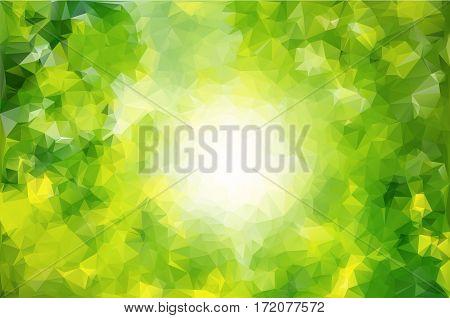 Abstract Low Poly Vector Background. Pattern Of Triangles. Polygonal Design. Green And Yellow Color.