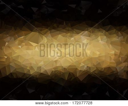 Abstract Low Poly Vector Background. Pattern Of Triangles. Polygonal Design. Brown. Horizontal Strip