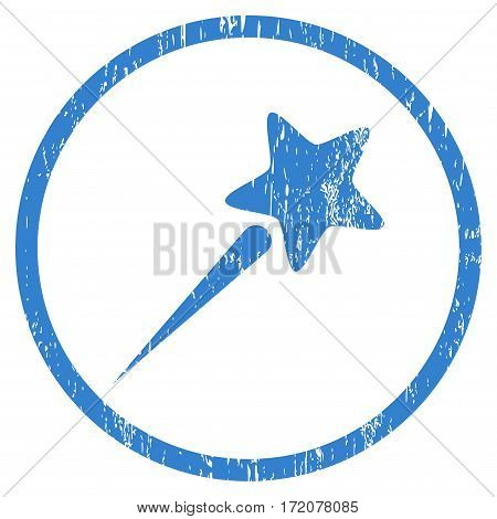 Flying Star grainy textured icon for overlay watermark stamps. Rounded flat vector symbol with dust texture. Circled cobalt ink rubber seal stamp with grunge design on a white background.