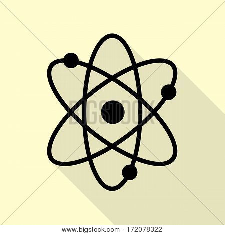 Atom sign illustration. Black icon with flat style shadow path on cream background.
