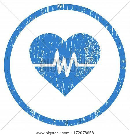 Heart Pulse grainy textured icon for overlay watermark stamps. Rounded flat vector symbol with unclean texture. Circled cobalt ink rubber seal stamp with grunge design on a white background.