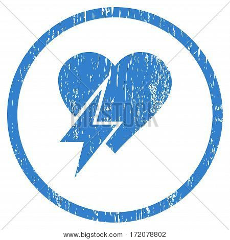 Heart Shock grainy textured icon for overlay watermark stamps. Rounded flat vector symbol with dirty texture. Circled cobalt ink rubber seal stamp with grunge design on a white background.