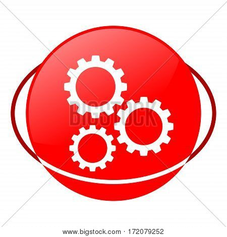 Red icon, gears vector illustration on white background