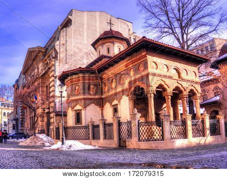 Old and spiritual architecture of Stavropoleos Orthodox church,  the oldest Monastery of Bucharest, Romania