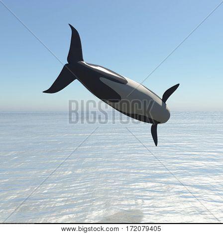 Killer Whale Jumping 3d rendering