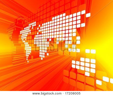 3D concept of white dotted world map on red, yellow background poster