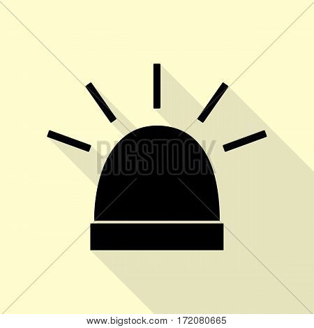 Police single sign. Black icon with flat style shadow path on cream background.