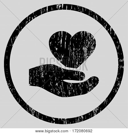 Love Heart Offer Hand grainy textured icon for overlay watermark stamps. Rounded flat vector symbol with scratched texture.