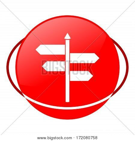 Red icon, signpost vector illustration on white background