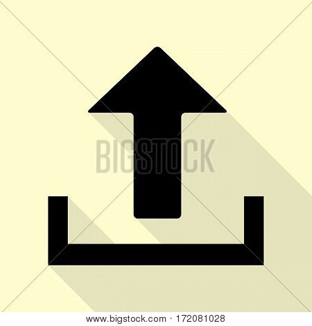 Upload sign illustration. Flat style black icon on white.