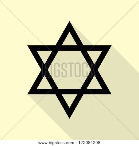 Shield Magen David Star. Symbol of Israel. Black icon with flat style shadow path on cream background.
