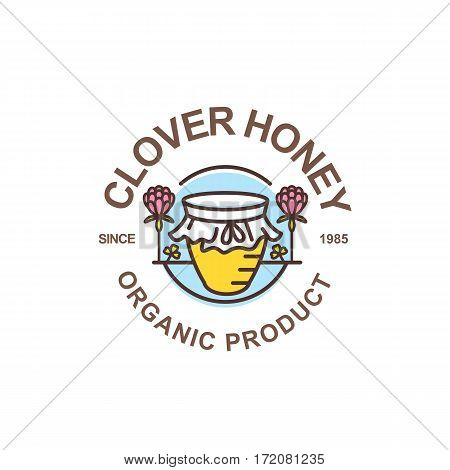 Outline Honey Pot Vector Logo. Round Label, Emblem Or Sticker With Linear Jar And Clover Flowers.