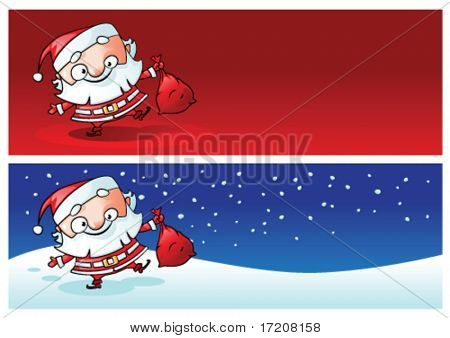 Funny Santa banners with copy space, vector illustration