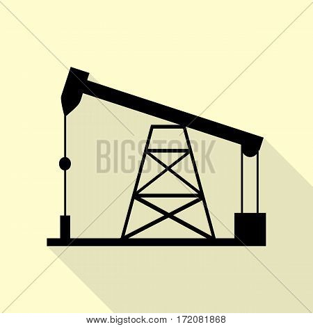 Oil drilling rig sign. Black icon with flat style shadow path on cream background.