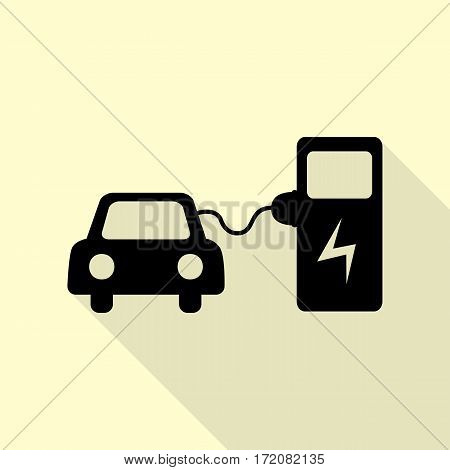 Electric car battery charging sign. Black icon with flat style shadow path on cream background.