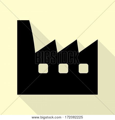 Factory sign illustration. Black icon with flat style shadow path on cream background.