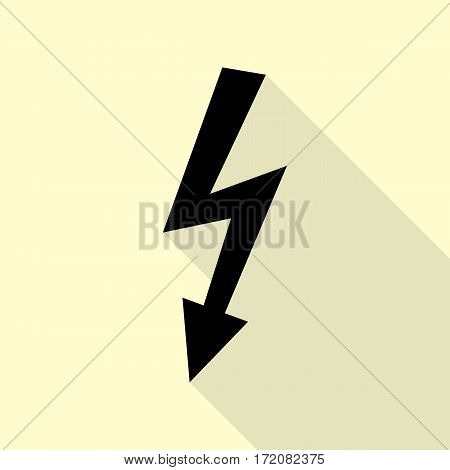 High voltage danger sign. Black icon with flat style shadow path on cream background.