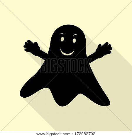 Ghost isolated sign. Black icon with flat style shadow path on cream background.