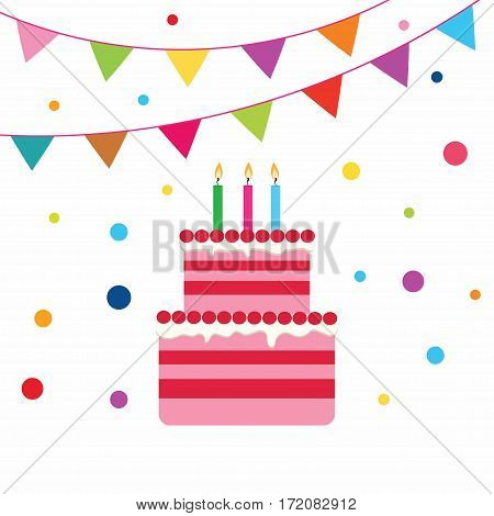 playful birthday cake with candles colorful flags and confetti isolated on white