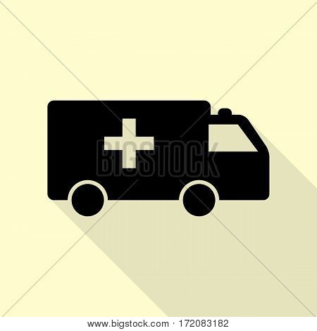 Ambulance sign illustration. Black icon with flat style shadow path on cream background.