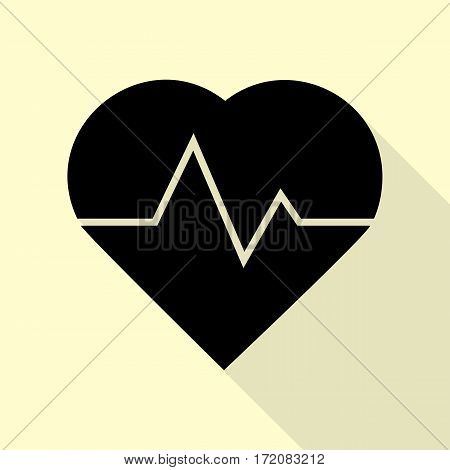 Heartbeat sign illustration. Black icon with flat style shadow path on cream background.