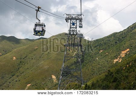 Cable-car line at Lantau Island to and from Ngong Ping Buddha area