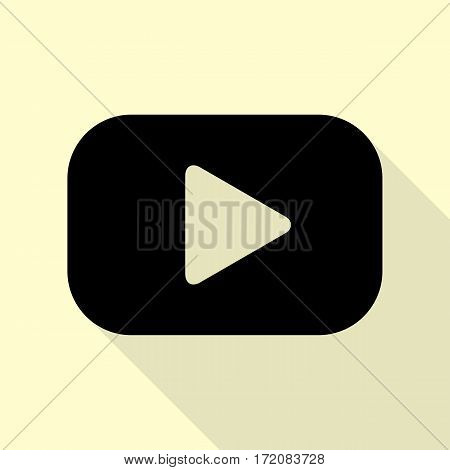 Play button sign. Black icon with flat style shadow path on cream background.