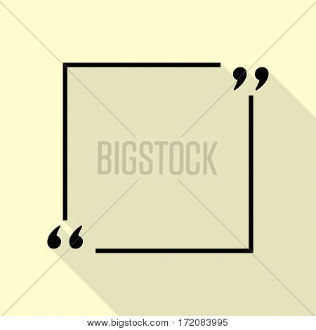 Text quote sign. Black icon with flat style shadow path on cream background.