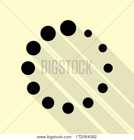 Circular loading sign. Black icon with flat style shadow path on cream background.