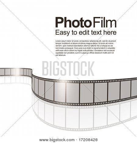 Isolated photo film with reflection on white, design template with copy space