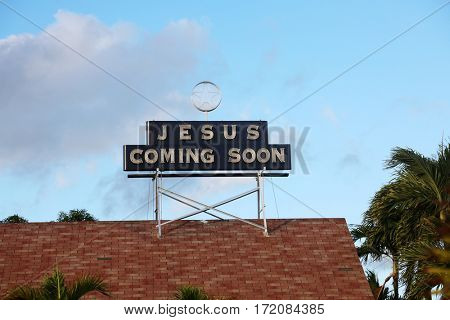 jesus coming soon. jesus coming soon neon sign.