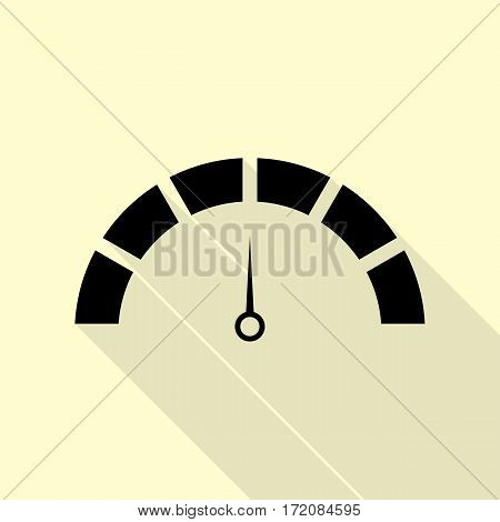 Speedometer sign illustration. Black icon with flat style shadow path on cream background.