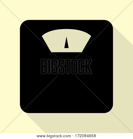 Bathroom scale sign. Black icon with flat style shadow path on cream background.