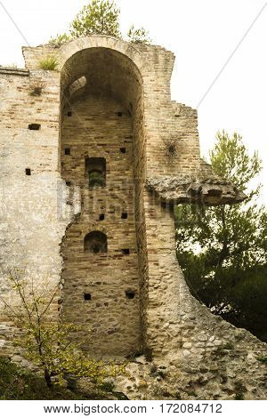 Rest of ancient wall of Castel in Grottammare, Italy