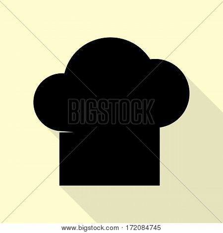 Chef cap sign. Black icon with flat style shadow path on cream background.