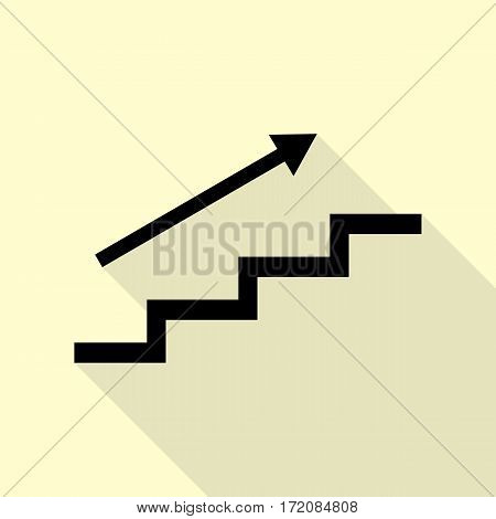 Stair with arrow. Black icon with flat style shadow path on cream background.