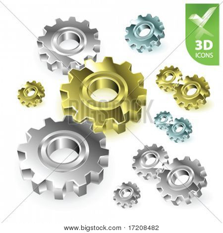 Vector gears 3D icons