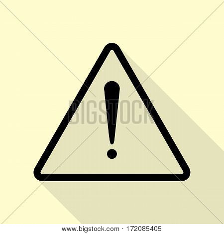 Exclamation danger sign. Flat style. Black icon with flat style shadow path on cream background.