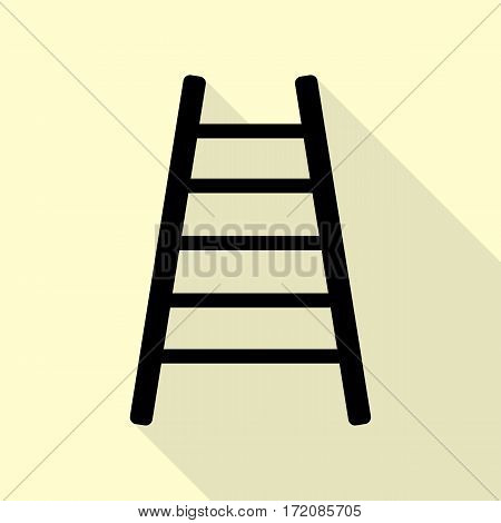 Ladder sign illustration. Black icon with flat style shadow path on cream background.