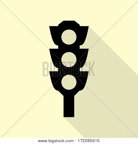 Traffic light sign. Black icon with flat style shadow path on cream background.