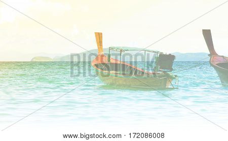 Image long tail boat on the sea