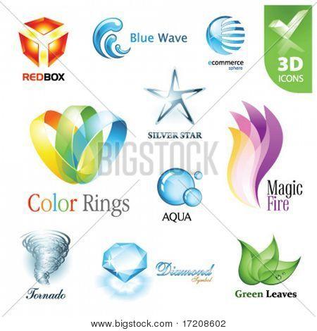 Set of vector design elements 12. 3D icons.