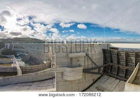 View of Alqueva Dam in Guadiana River, Portugal